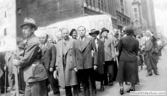 'Pa' (second left) protesting working conditions in the Garment District, 1929